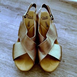 Clarks Collection Soft Cushion Cork Wedges Gold 8